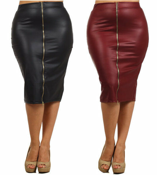 faux leather high waist zipper front below knee