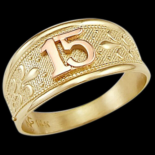 Quinceanera Ring 14k Rose Amp Yellow Gold Band 15 Birthday