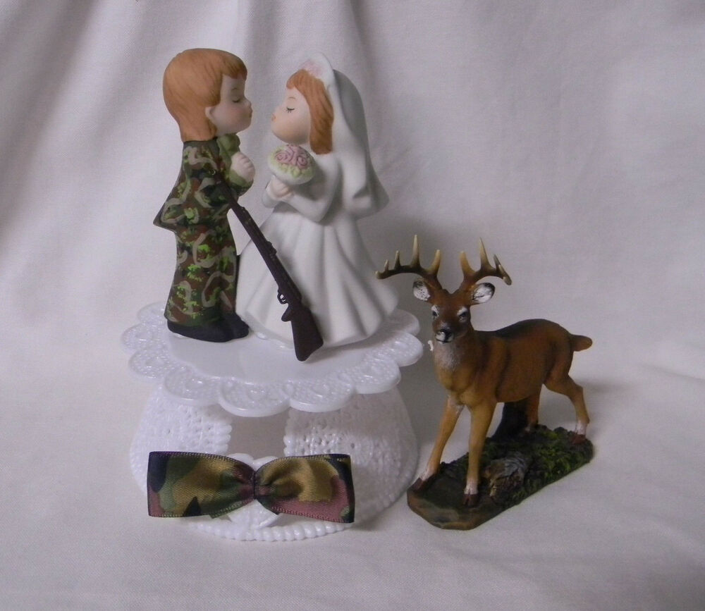 Wedding Reception Party Deer Hunter Camo Camouflage Groom Hunting Cake Topper