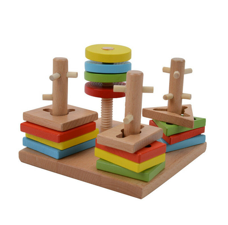 Montessori toy game wooden 4 sets columm pillar matching color shape wood blocks ebay - Matching wood pieces of different colors ...