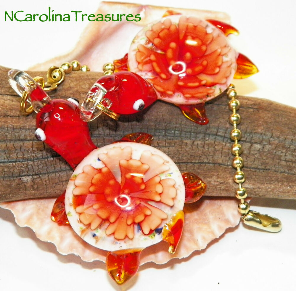 Large Glass Ceiling Fan Pulls: MURANO FLOWER GLASS CEILING FAN SWITCH PULL RED FLORAL