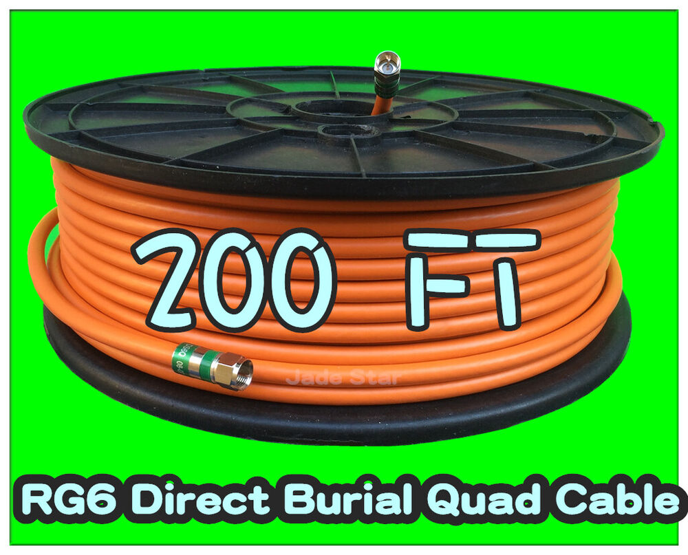 Rg6 Quad F Direct Burial Orange 200 Feet Coax Coaxial