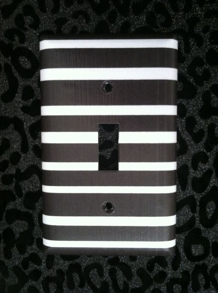 Black And White Striped Light Switch Plate Cover Choose