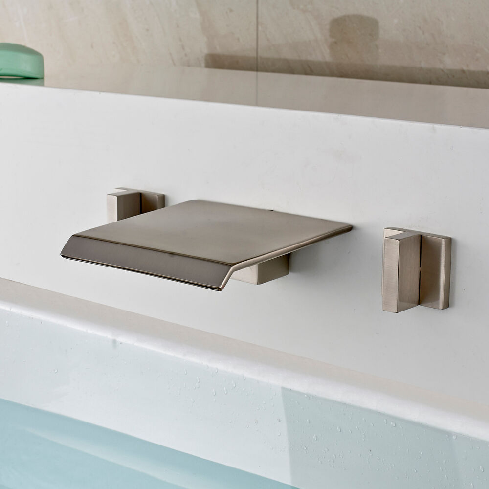 Waterfall Widespread Bathtub Mixer Tap Wall Mount 3 Holes Faucet Brushed Nick
