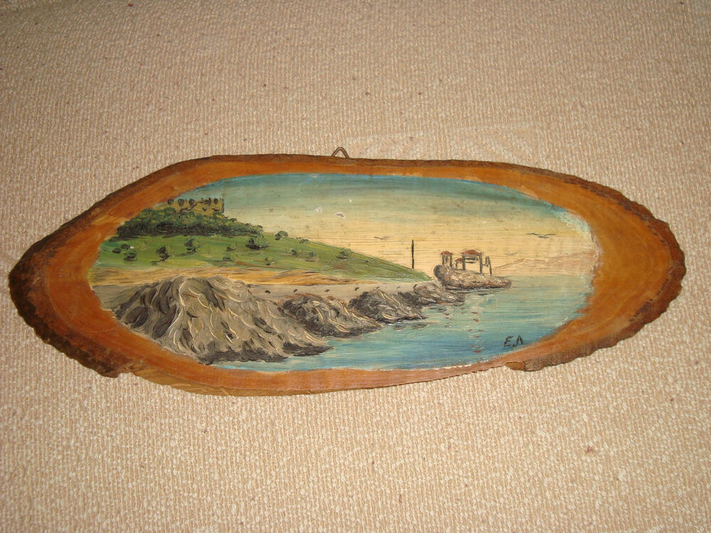 Greece Beautiful Old 1960s Painting On Tree Trunk Log