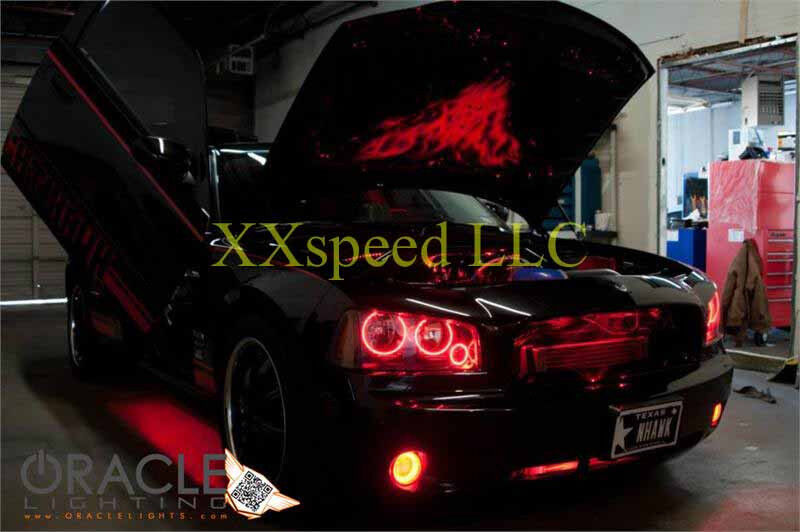 Oracle Dodge Charger 05 10 Red Plasma Headlight Halo Angel