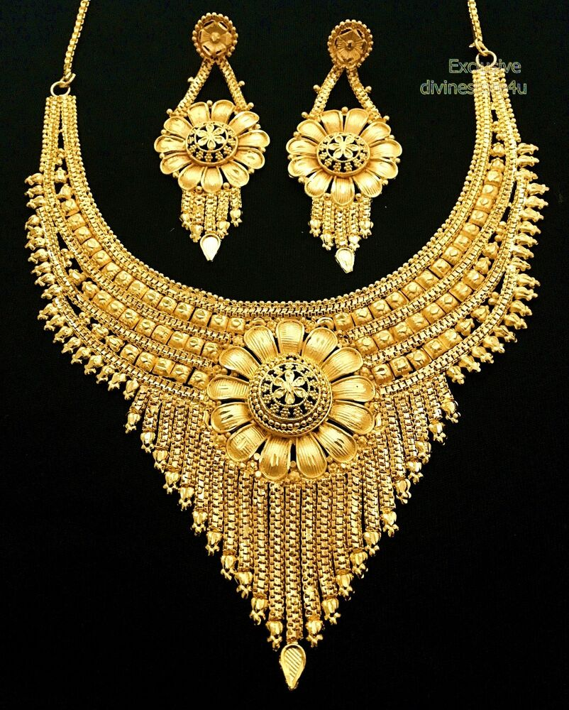 Designer Gold Plated Party Wear Indian Royal Necklace ...