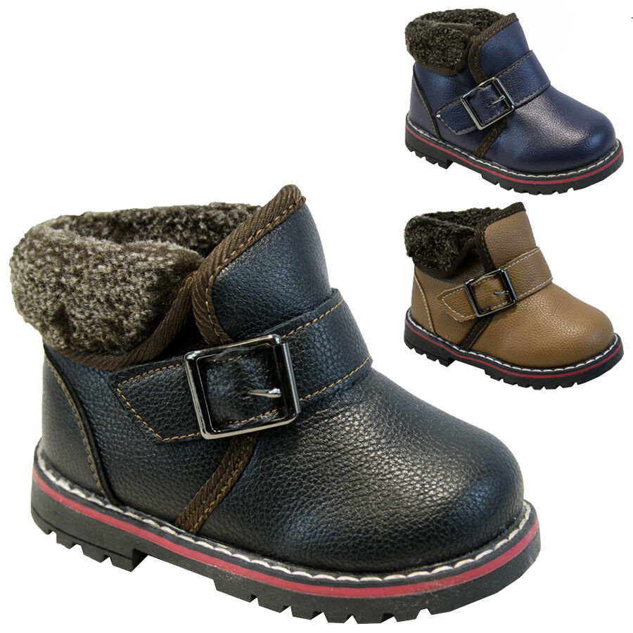 **BOYS WINTER BOOTS BABIES PARTY TODDLERS WARM FUR ANKLE