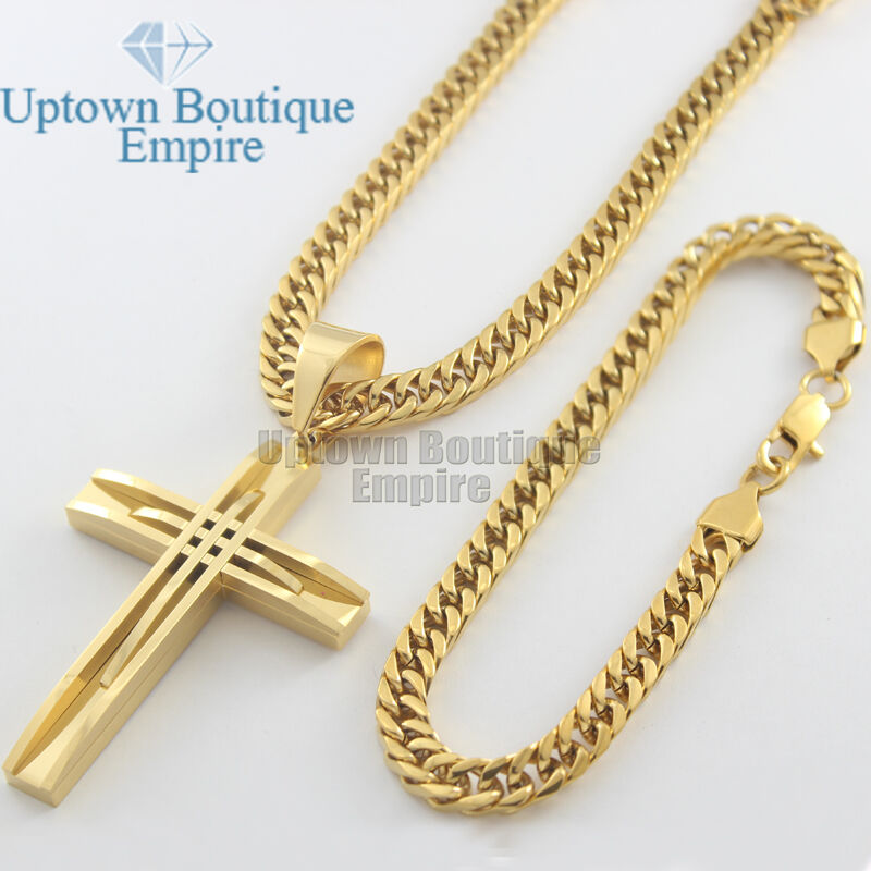 24 Quot Men S Stainless Steel Gold Cuban Link Chain Necklace