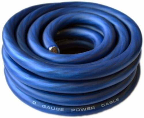 0 Gauge Wire Blue Amplifier Power/Ground 1/0 Ga Amp Wire 25 Feet Cable Roll