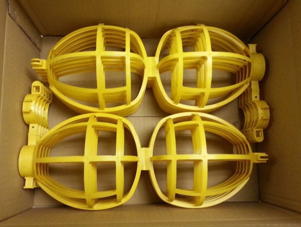 25 Pc Temporary Jobsite Replacement Yellow Bulb Cages For Lighting String