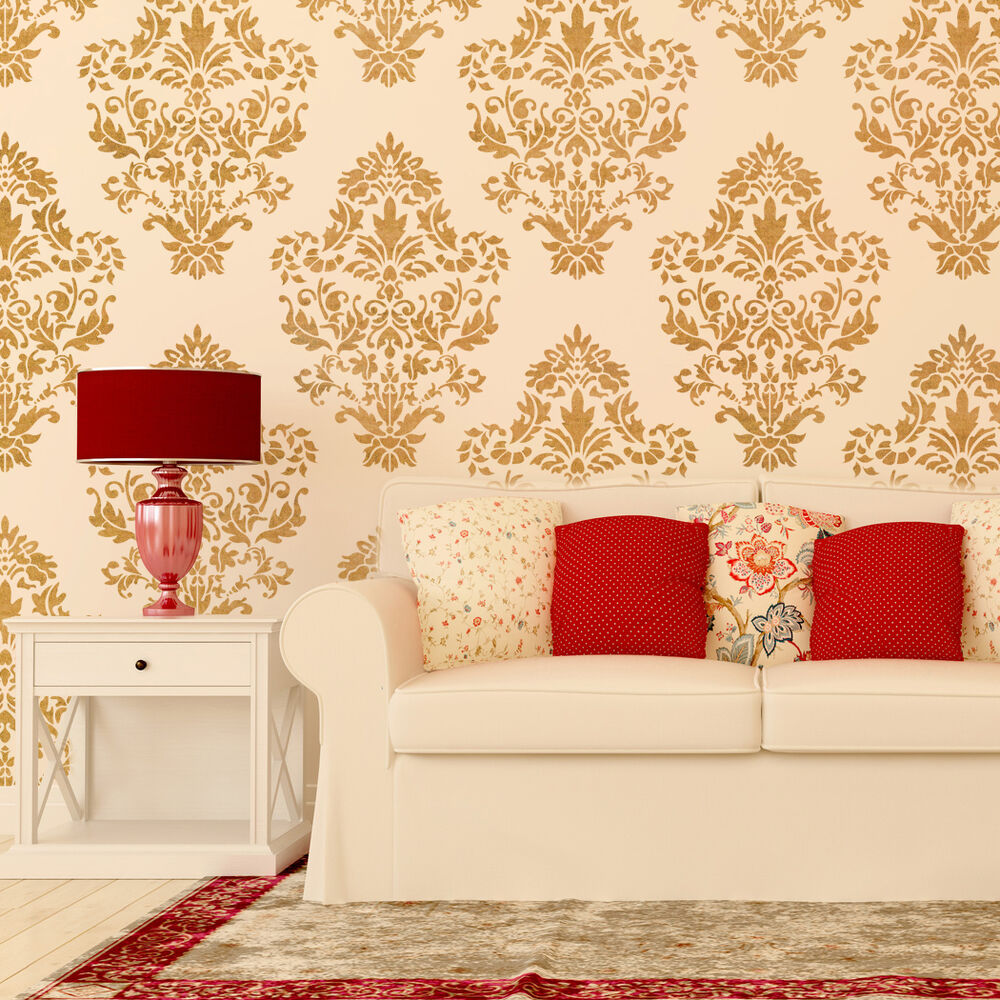 Damask wall stencil pattern ludovica for diy home decor for Home wallpaper ebay