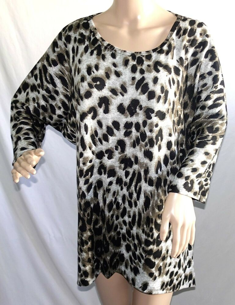 Womens Tunic Top Animal Print WearOrGoBare Size 2X