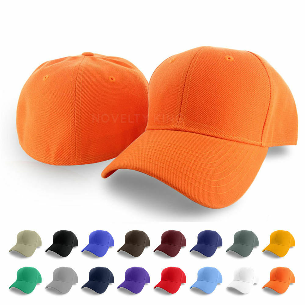 Plain Fitted Curved Visor Baseball Cap Hat Solid Blank ...