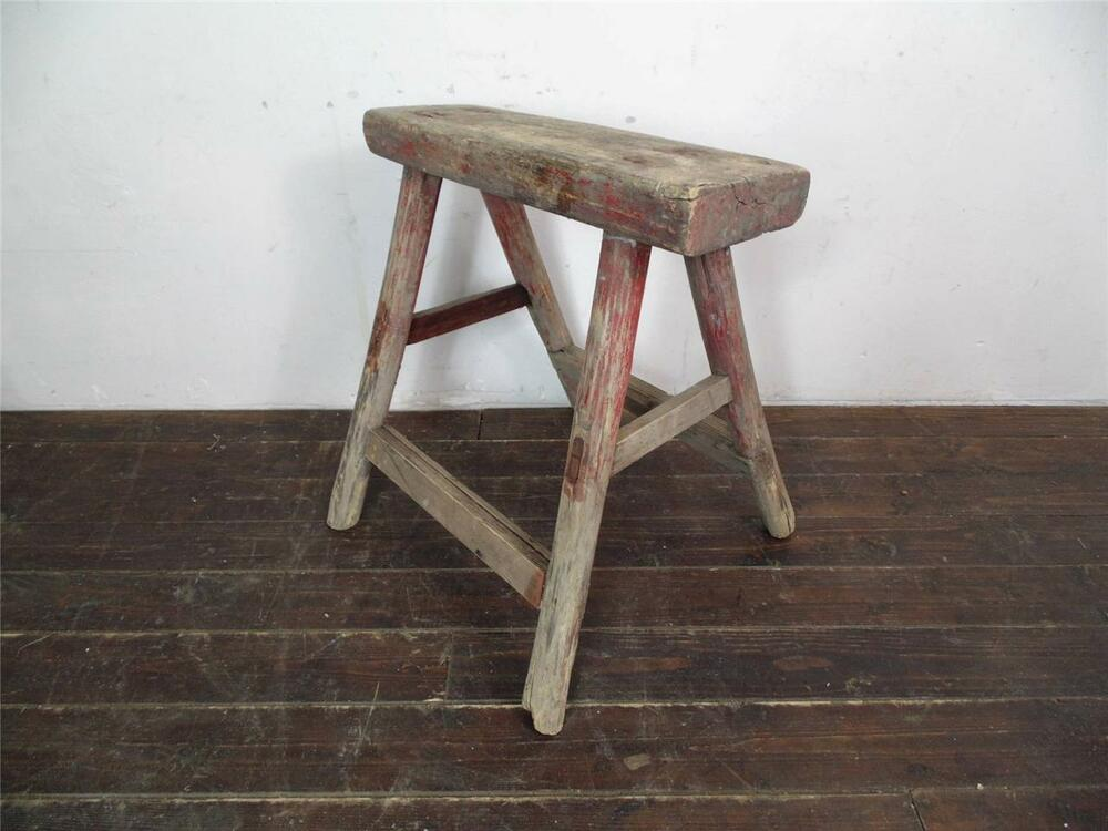 Vintage Rustic Antique Wooden Stool Milking Extra Large No