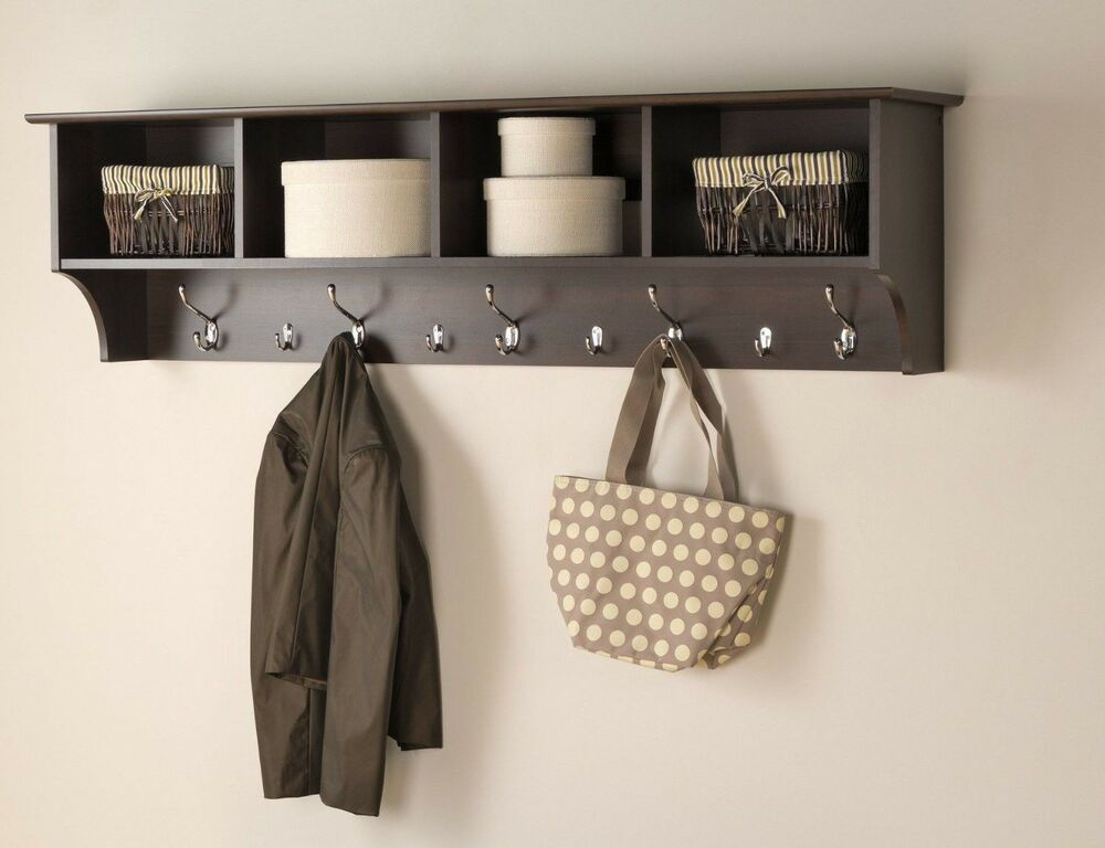 Foyer Wall Storage : Entryway coat rack wall hanging shelves hooks wood cubby