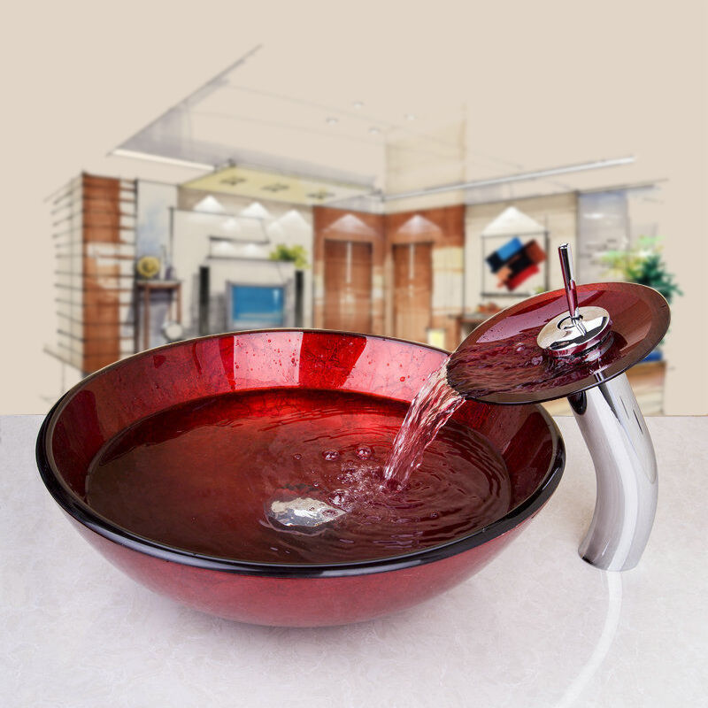 Round Vessel Sink Vanity : Bathroom Round Glass Vessel Vanity Sink with Bras Faucet Tap Combo Set ...