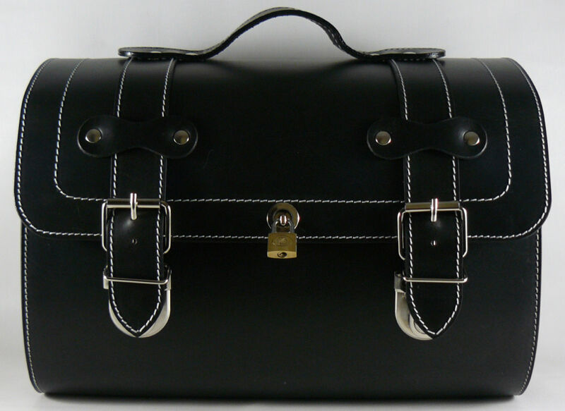 medium leather top case roll bag vespa px lx lxv gts gtv scooter vintage black ebay. Black Bedroom Furniture Sets. Home Design Ideas