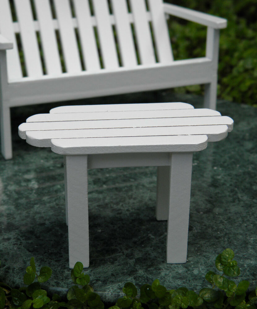 Miniature Dollhouse Fairy Garden Furniture White Wood Adirondack Table New Ebay