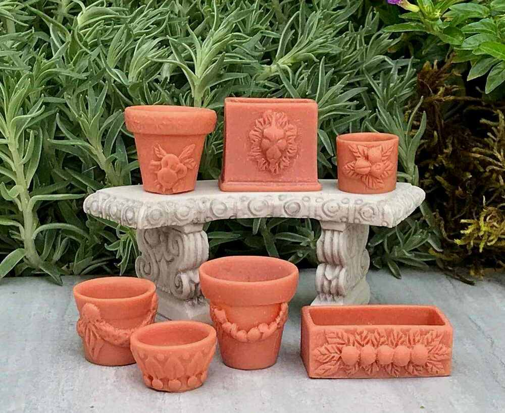 miniature dollhouse fairy garden accessories set of 7 assorted pots new 717425570482 ebay. Black Bedroom Furniture Sets. Home Design Ideas