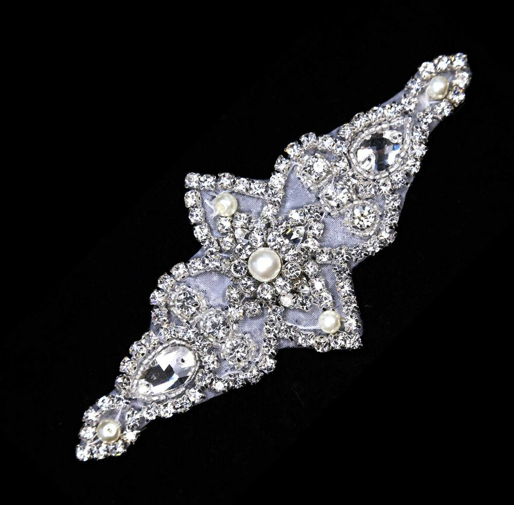 Rhombus Wedding Bridal Dress Sash Crystal Rhinestone