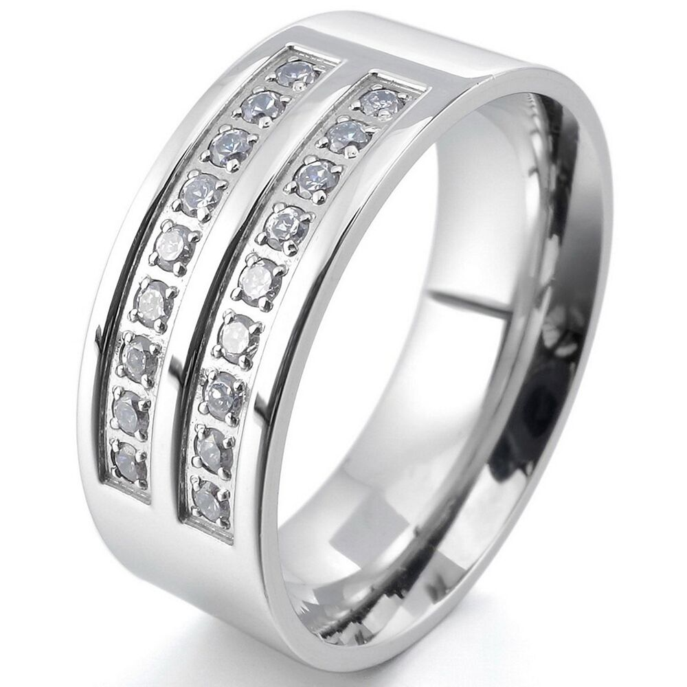 Stainless Steel Mens Wedding Band Ring 8mm: Mens Womens Polished Stainless Steel CZ Cubic Zirconia