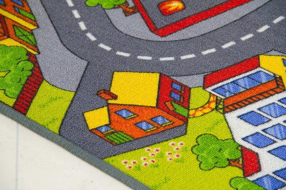 CHILDRENS RUG KIDS CITY TOWN ROAD MAP VILLAGE CAR PLAY