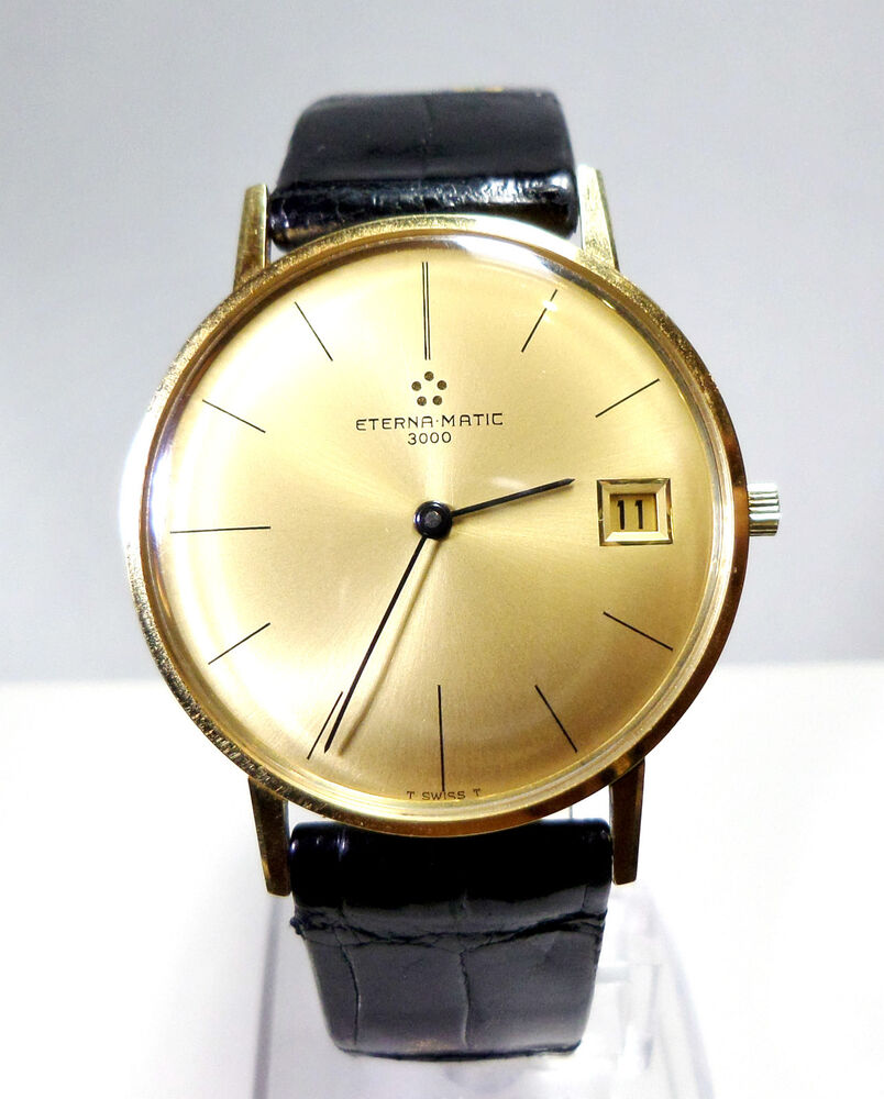 montre eterna matic 3000 en or jaune massif 18k homme extra plate ebay. Black Bedroom Furniture Sets. Home Design Ideas