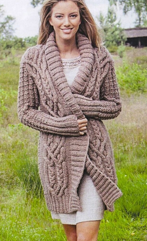 Chunky Cardigan Knitting Pattern : Ladies aran cardigan jacket coat chunky knitting