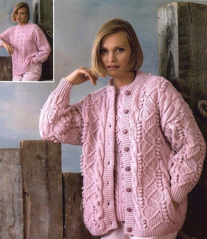 Free Cable Knit Afghan Pattern : (212) Ladies Gorgeous Aran Cardigan & Sweater Aran/ DK Knitting Pattern ...