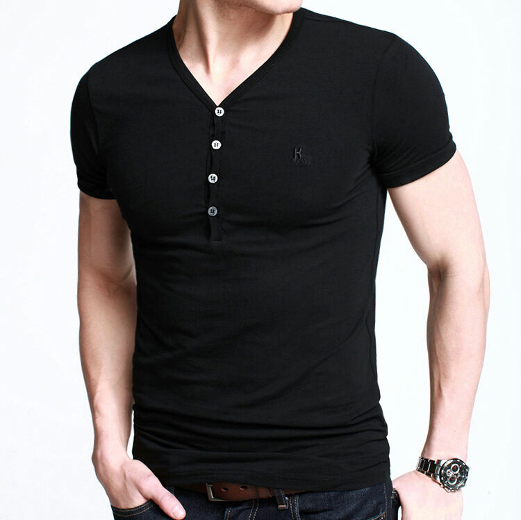 Men 39 s premium soft henley t shirt casual basic stretch for Tahari t shirt mens
