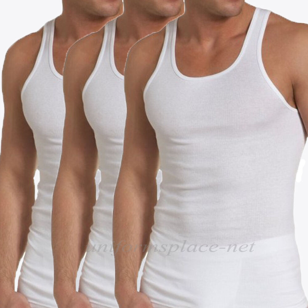 3 Mens Undershirt Ribbed Tank Top Muscle Wife Beater Cotton ...