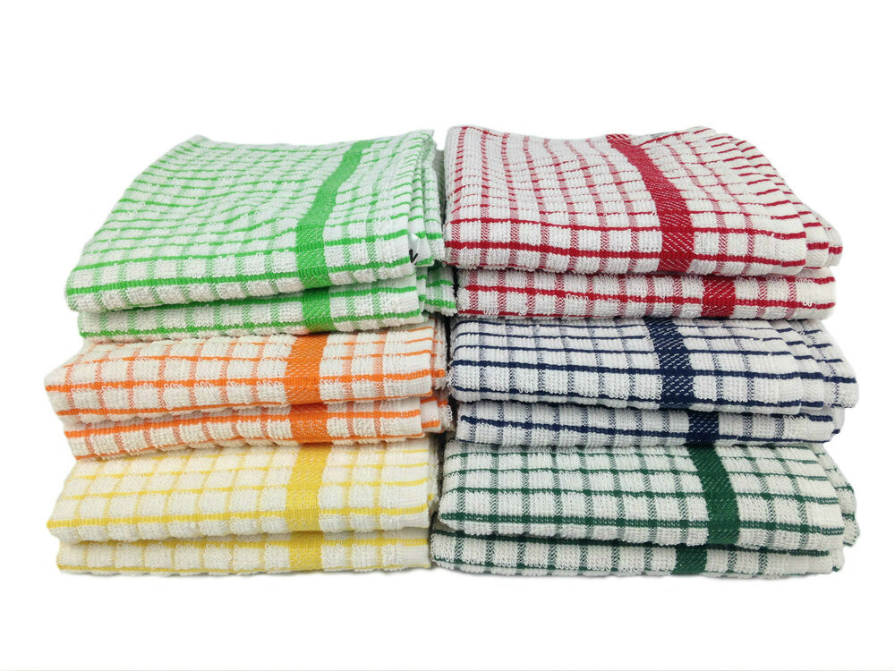 100 Cotton Terry Check Tea Towel Soft Amp Absorbent Sold