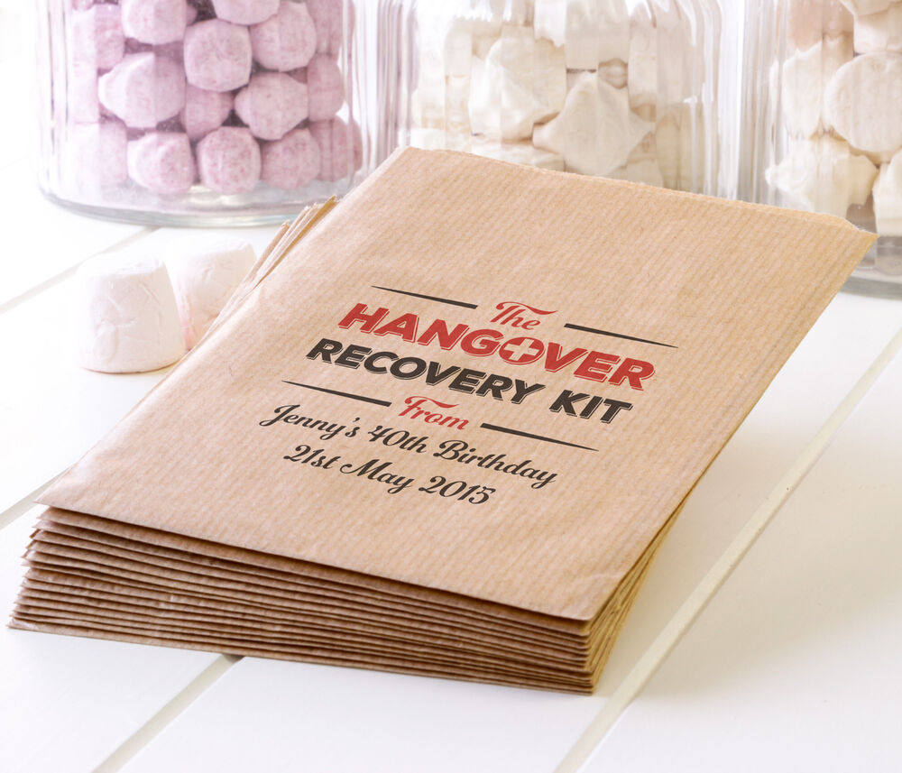 Personalised Hangover Survival Bags Kraft Paper Party
