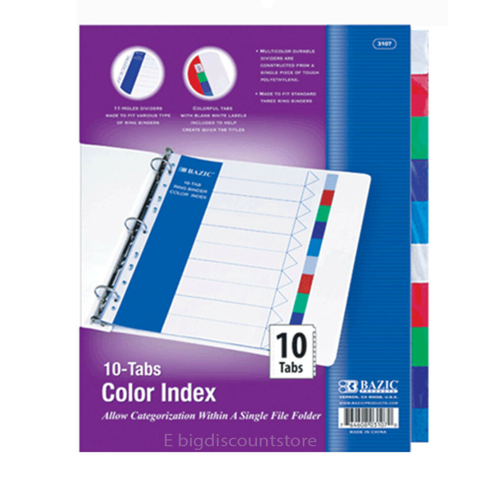 1 Pack Of BAZIC 3 Ring Binder Dividers With 10 Color Tabs