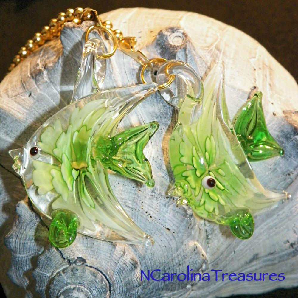 Large Glass Ceiling Fan Pulls: GREEN FLORAL FISH FISHES ART GLASS CEILING FAN LIGHT
