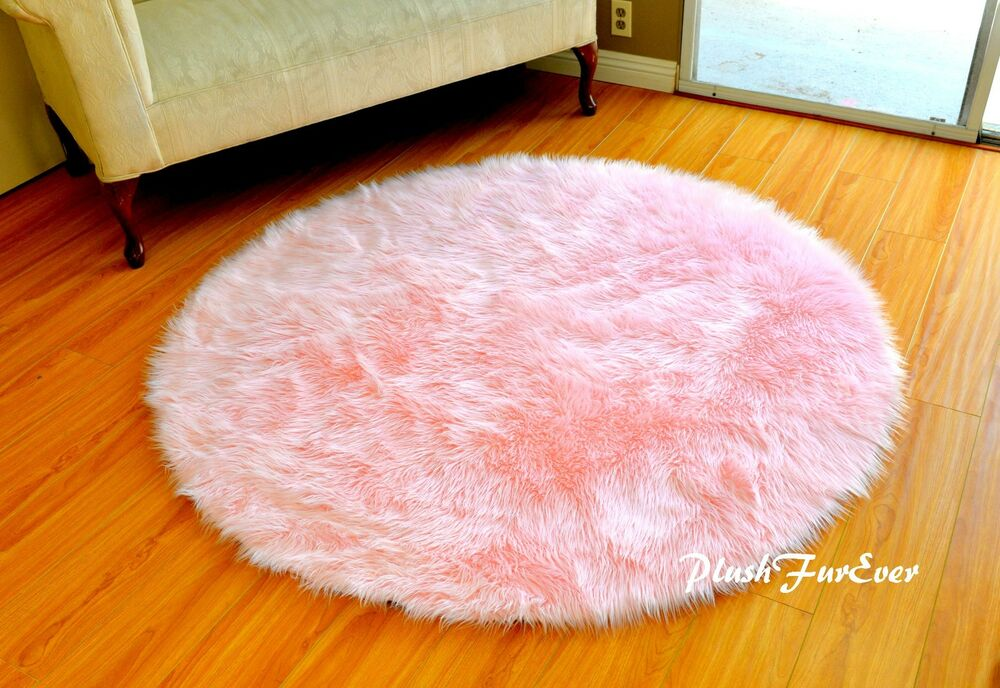 Baby Pink Area Rug 5 Faux Fur Shaggy Throw Rugs Cute Baby