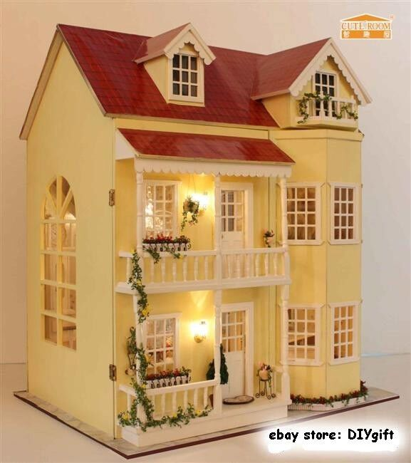 Wooden Dollhouse Miniatures DIY House Kit W/Led Light And