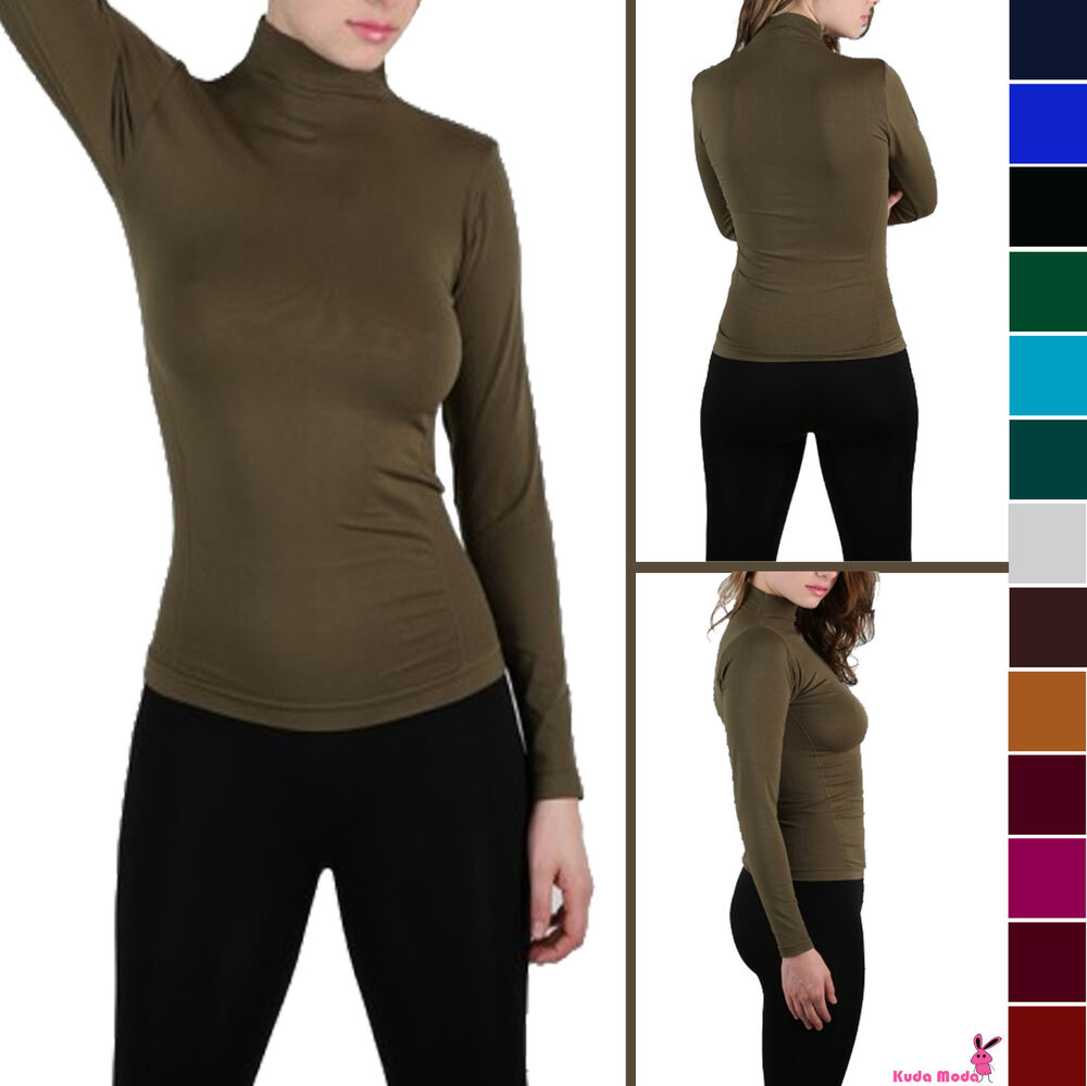 Essential basic long sleeve seamless polo mock turtle neck for Mock long sleeve t shirts