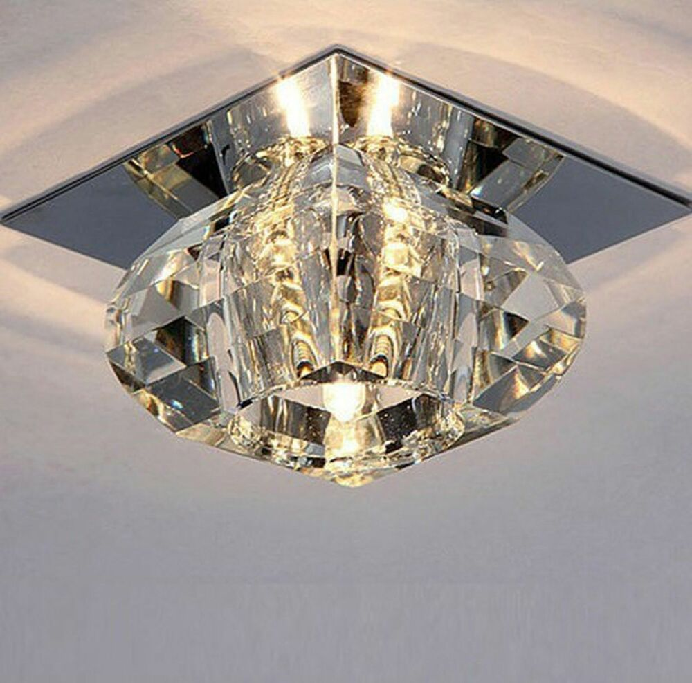 Crystal Chandeliers Ceiling Lights : Modern crystal led bulb ceiling light fixture lighting