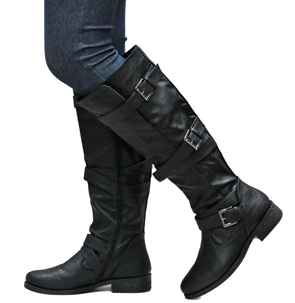 New Women Bj6 Black Strappy Buckle Riding Knee High Boots -1573
