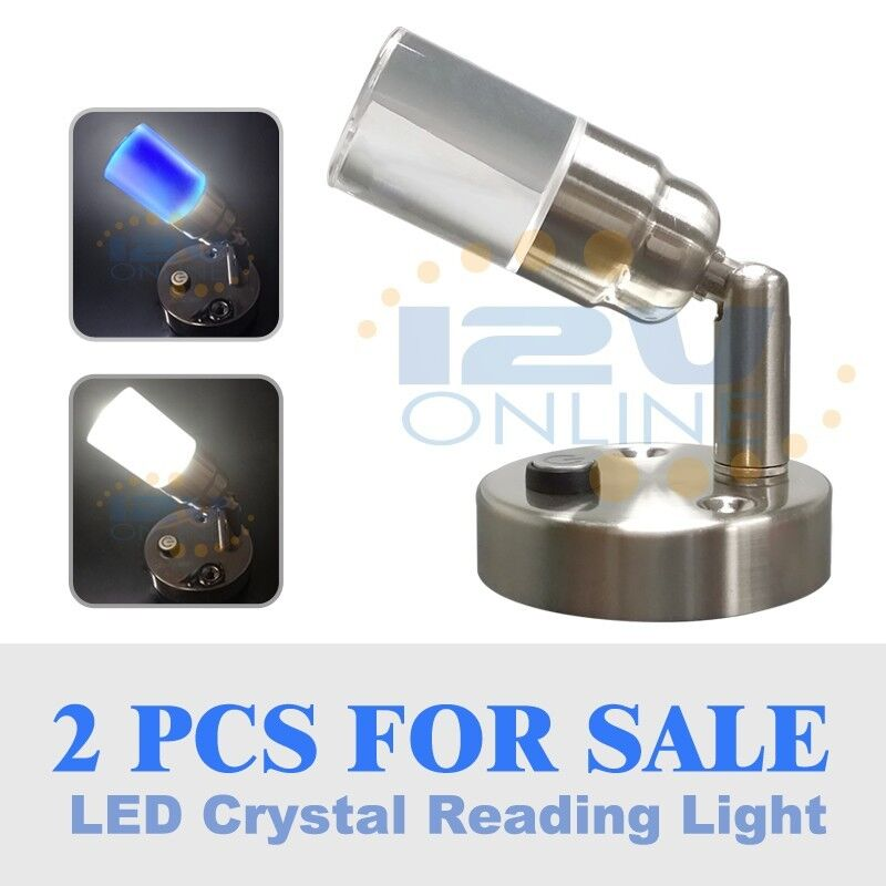 2*LED 12Volt Crystal Swivel Wall Reading Light RV Camper Trailer Bedside Lamp...