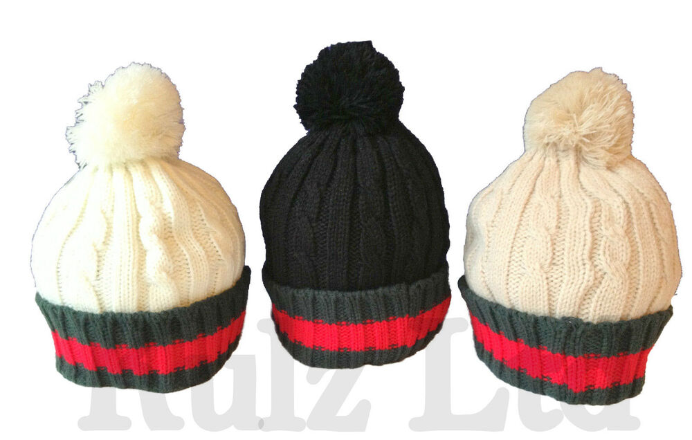 105704ba832 New Designer Winter Fashion Cable Knit Wool Bobble Hat Beanie Pom Pom  Branded UK