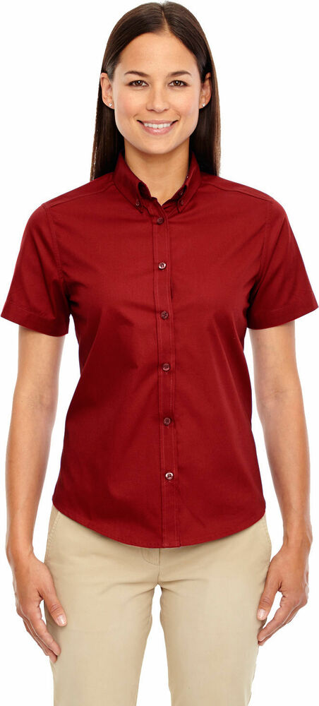 North end women 39 s performance button down collar short for Women s button down shirts extra long
