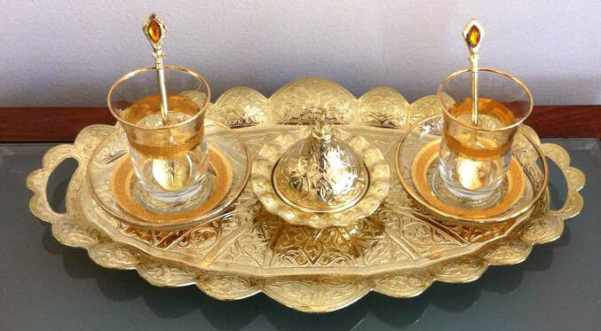 Turkish Chick Tea Set Cups Plates Spoons Delight Bowl Tray