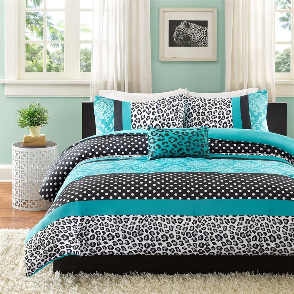 beautiful blue pink aqua teal leopard zebra polka dot teen girl comforter set ebay. Black Bedroom Furniture Sets. Home Design Ideas