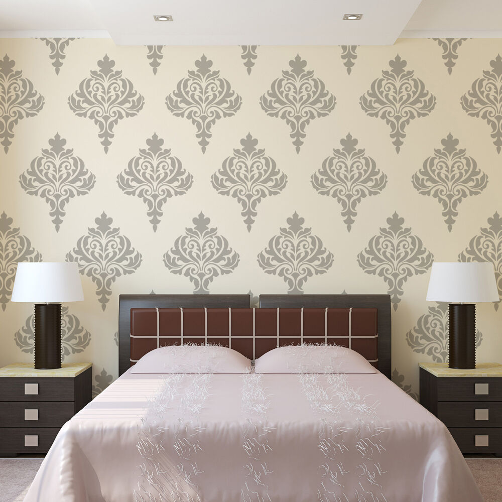 16 Best Diy Stencils Images On Pinterest: Wall Damask Stencil Balifico For DIY Wall Decor And