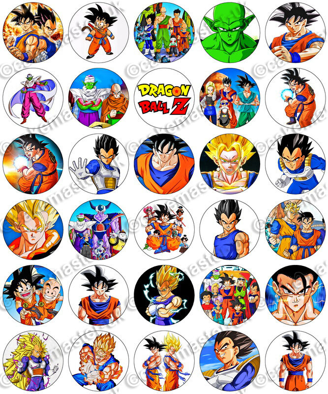 30 x Dragon Ball Z Party Edible Rice Wafer Paper Cupcake Toppers eBay