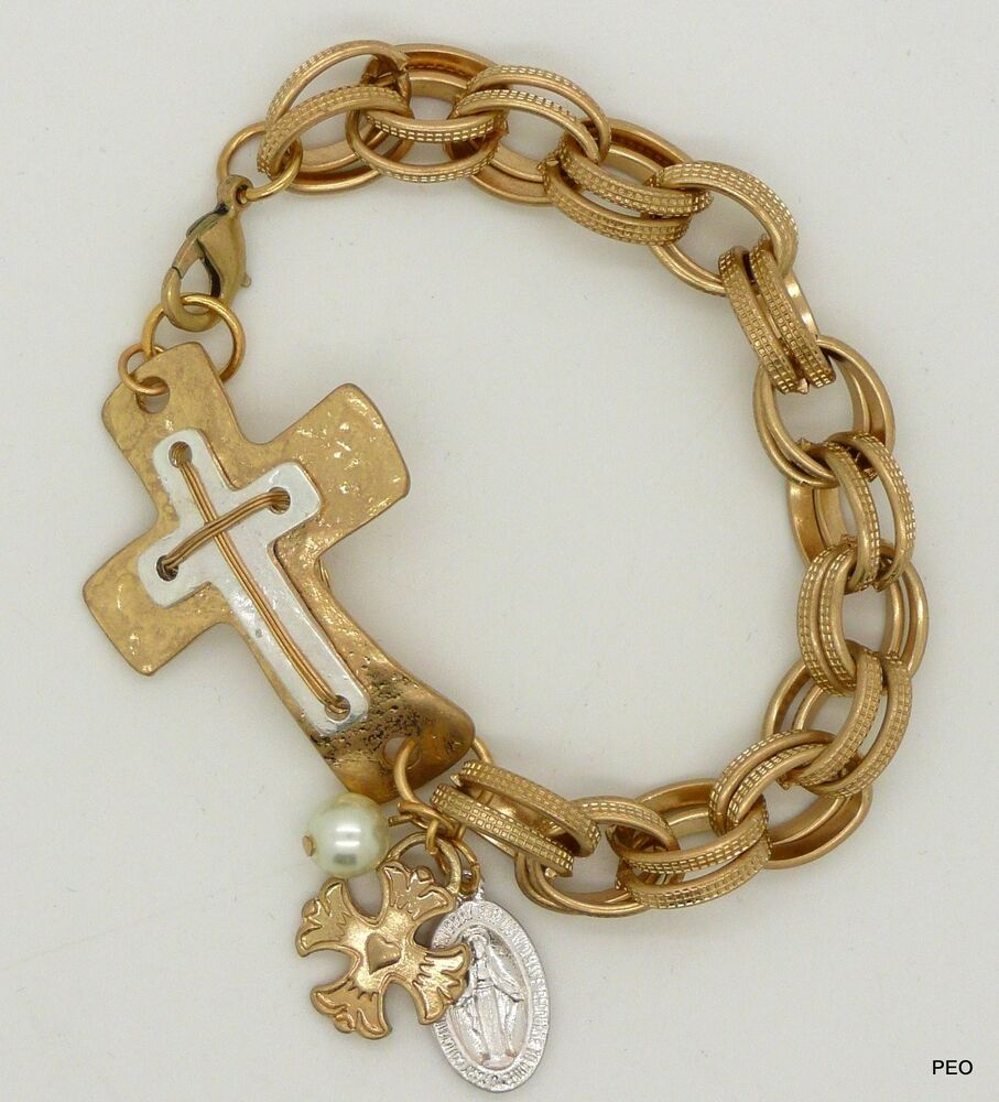 Sideways Cross Women's Bracelet Gold Chain New Bracelets