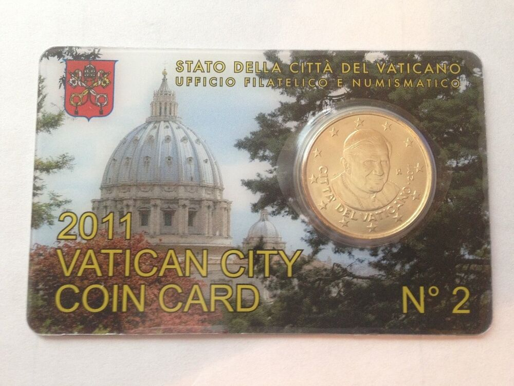 2011 Vatican City Coin Card 50 Euro Cent Pope Benedict XVI